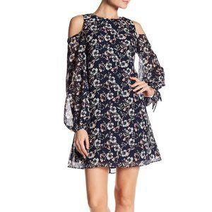 VINCE CAMUTO Cold Shoulder Blue Floral Dress